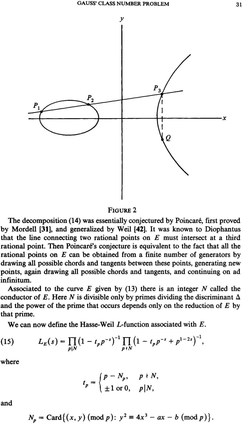 Then Poincaré's conjecture is equivalent to the fact that all the rational points on E can be obtained from a finite number of generators by drawing all possible chords and tangents between these