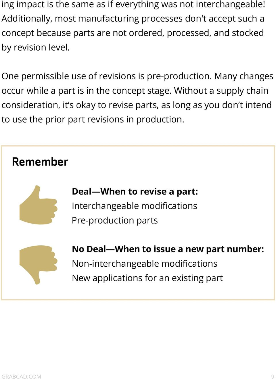 One permissible use of revisions is pre-production. Many changes occur while a part is in the concept stage.