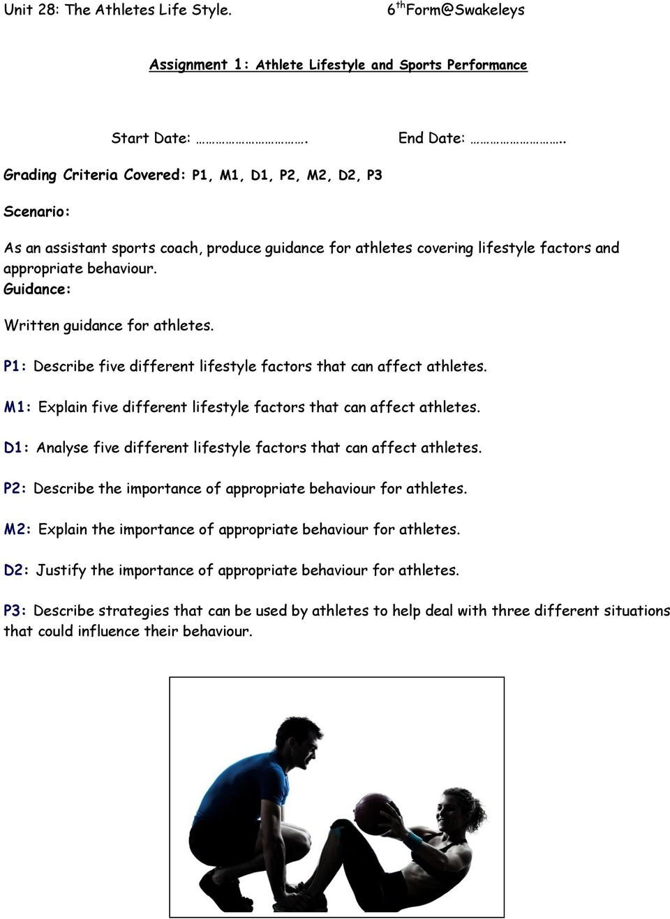 Guidance: Written guidance for athletes. P1: Describe five different lifestyle factors that can affect athletes. M1: Explain five different lifestyle factors that can affect athletes.