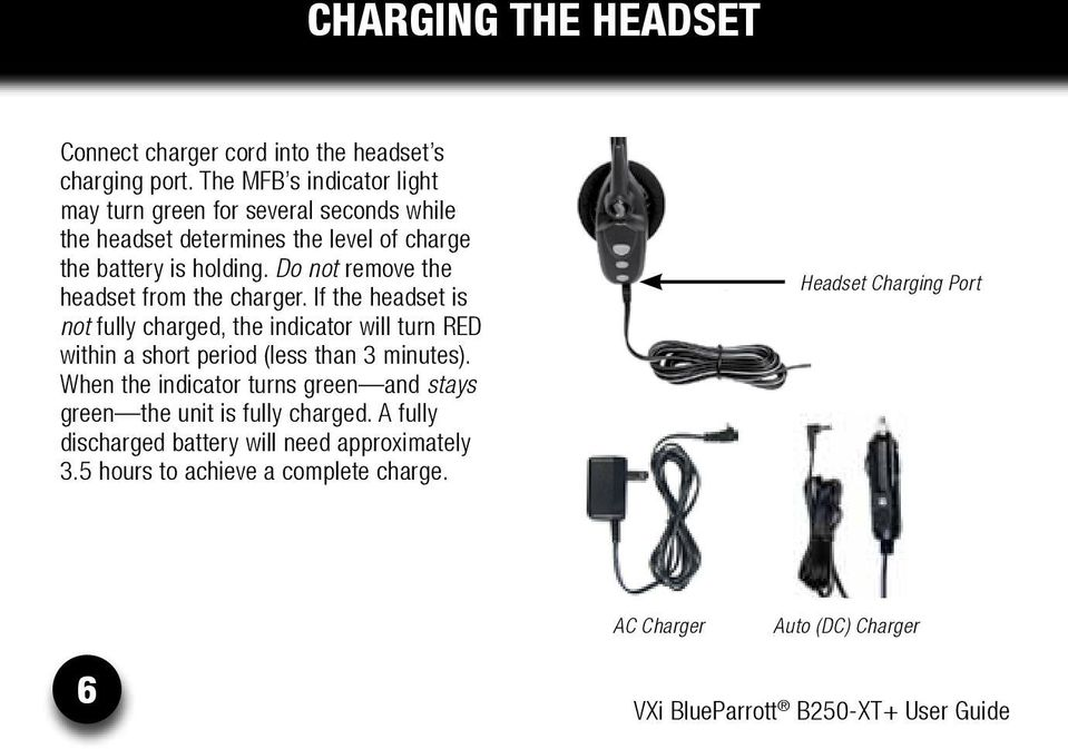 Do not remove the headset from the charger.