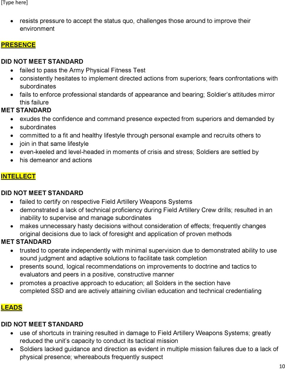 NCOER PERFORMANCE MEASURES (NCOER BULLET COMMENTS) SUPPLEMENT TO THE CENTER FOR ARMY LEADERSHIP ...