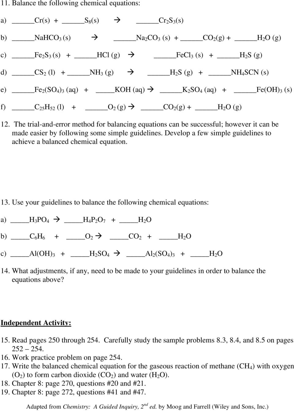 Writing Chemical Equations Worksheet Answer Key