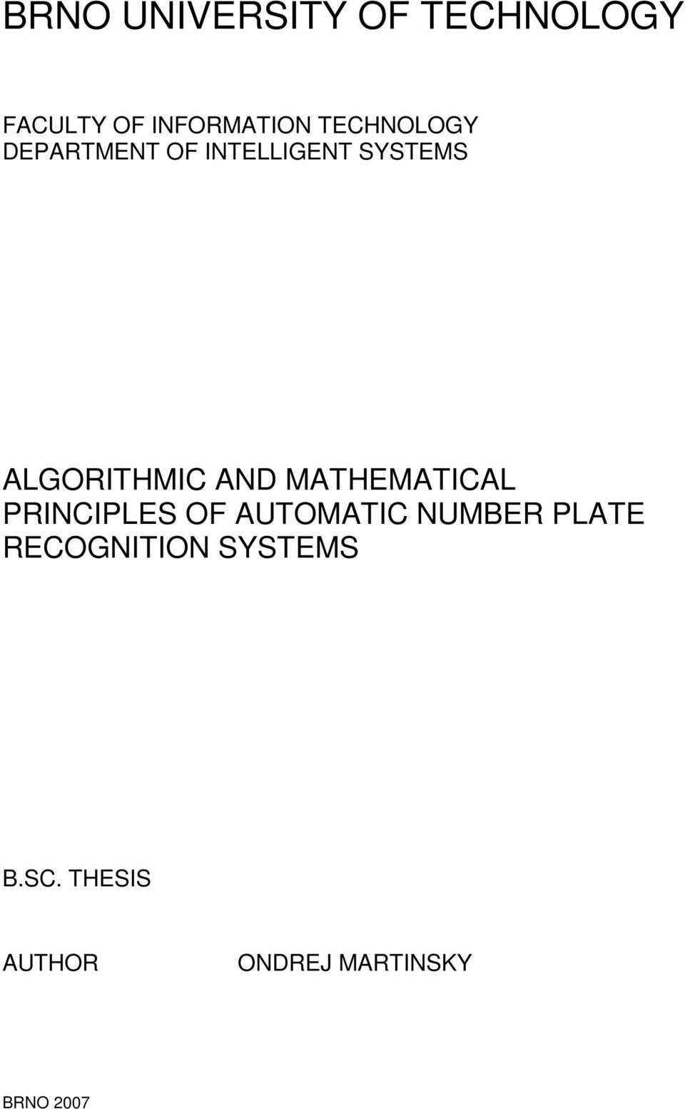 AND MATHEMATICAL PRINCIPLES OF AUTOMATIC NUMBER PLATE