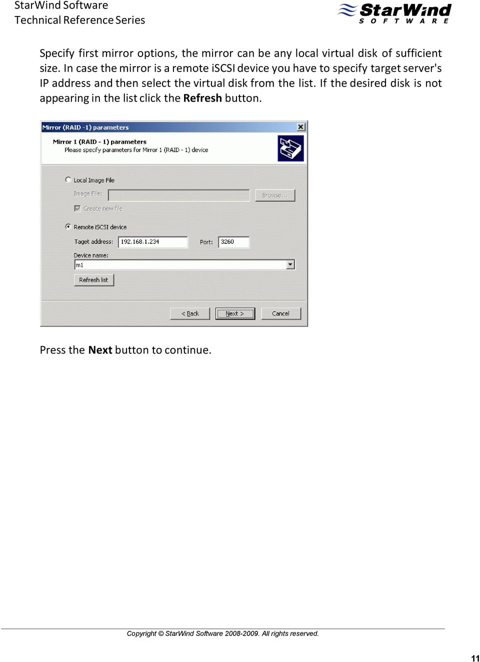 then select the virtual disk from the list.