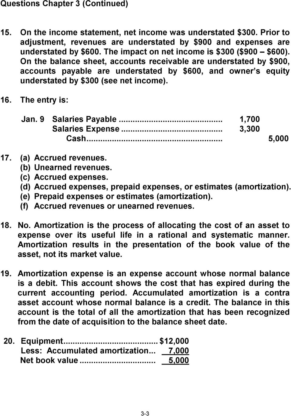 On the balance sheet, accounts receivable are understated by $900, accounts payable are understated by $600, and owner s equity understated by $300 (see net income). 16. The entry is: Jan.