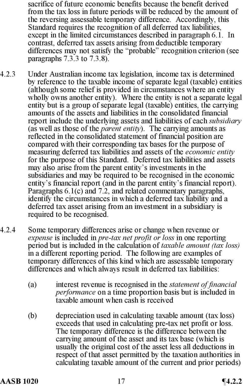 In contrast, deferred tax assets arising from deductible temporary differences may not satisfy the probable recognition criterion (see paragraphs 7.3.3 to 7.3.8). 4.2.
