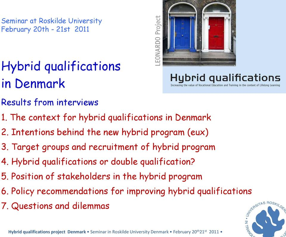 Target groups and recruitment of hybrid program 4. Hybrid qualifications or double qualification? 5.