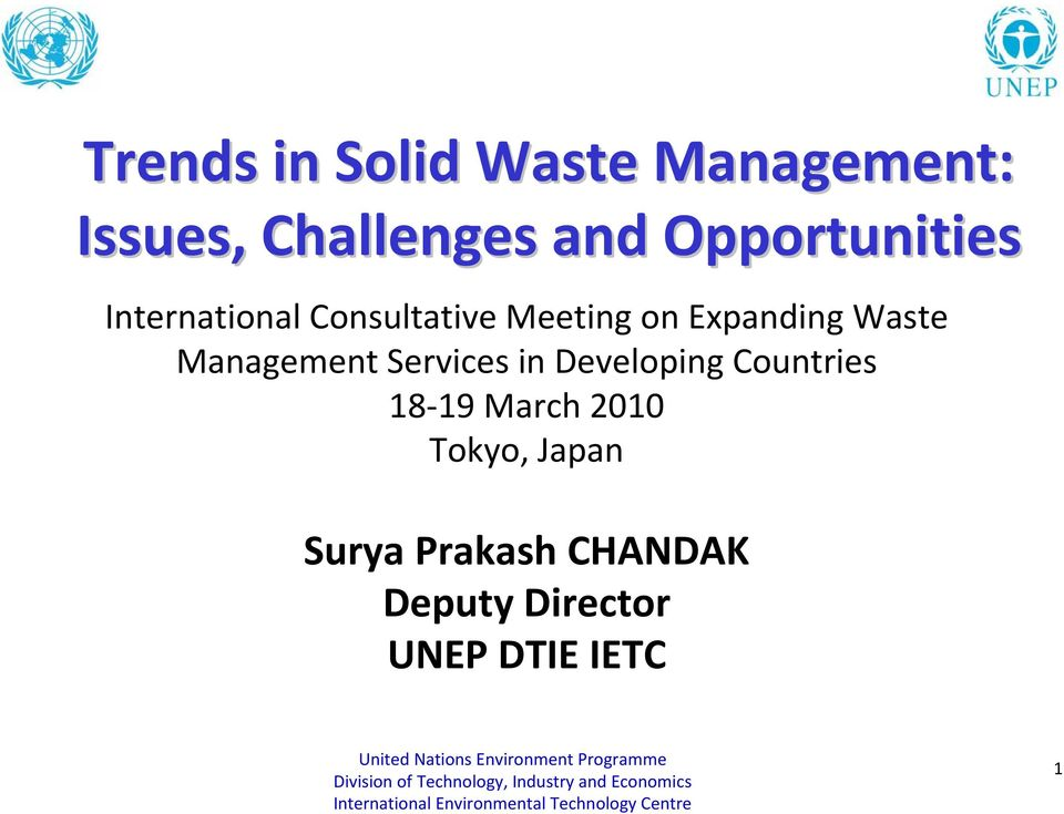 Waste Management Services in Developing Countries 18 19 March