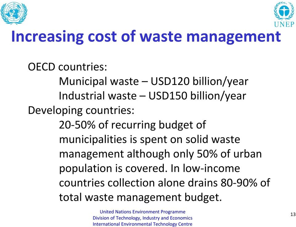 municipalities is spent on solid waste management although only 50% of urban population is