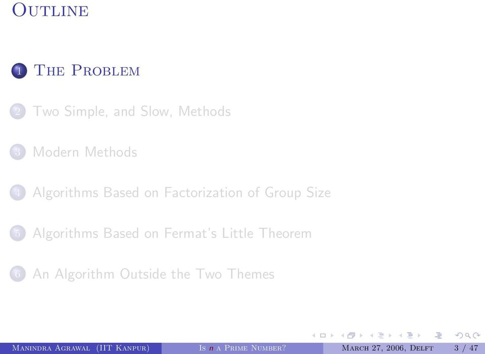 on Fermat s Little Theorem 6 An Algorithm Outside the Two Themes