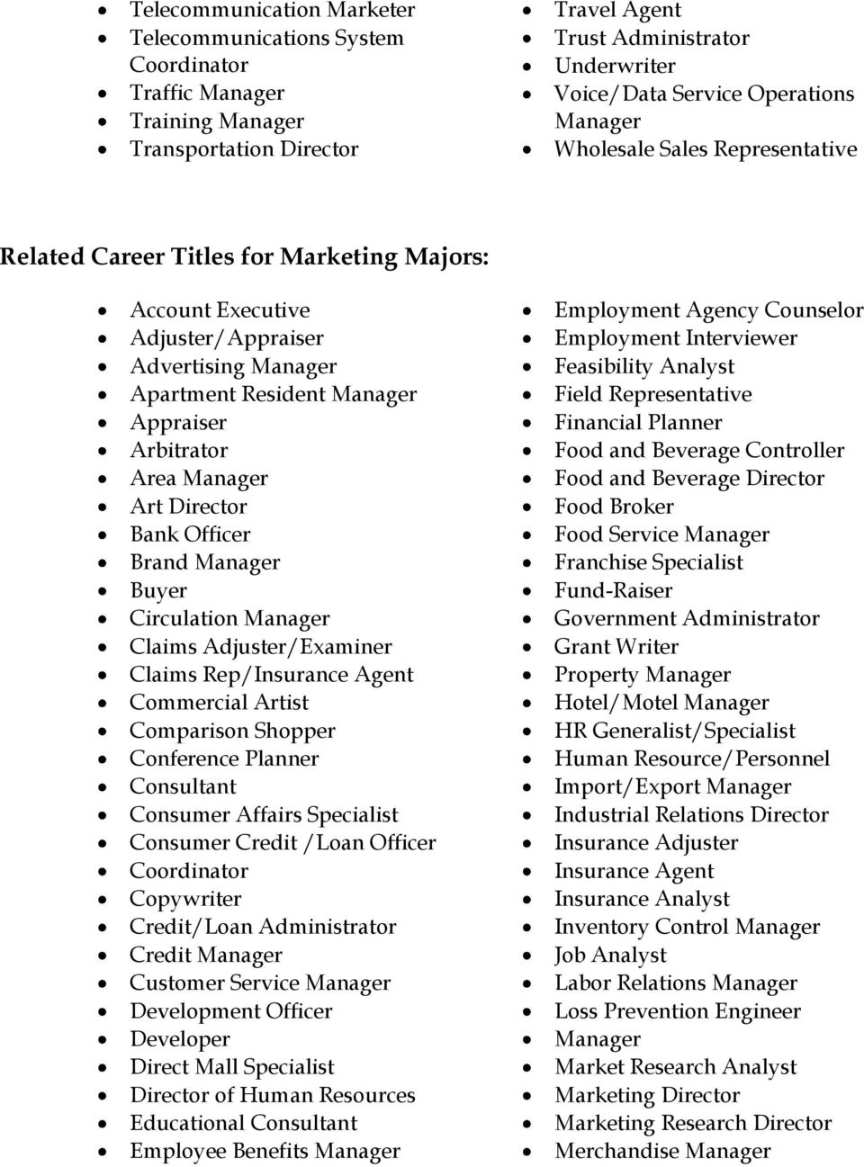 Manager Art Director Bank Officer Brand Manager Buyer Circulation Manager Claims Adjuster/Examiner Claims Rep/Insurance Agent Commercial Artist Comparison Shopper Conference Planner Consultant