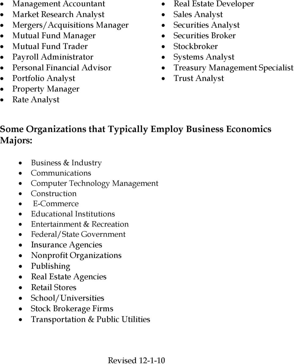 Typically Employ Business Economics Majors: Business & Industry Communications Computer Technology Management Construction E-Commerce Educational Institutions Entertainment & Recreation