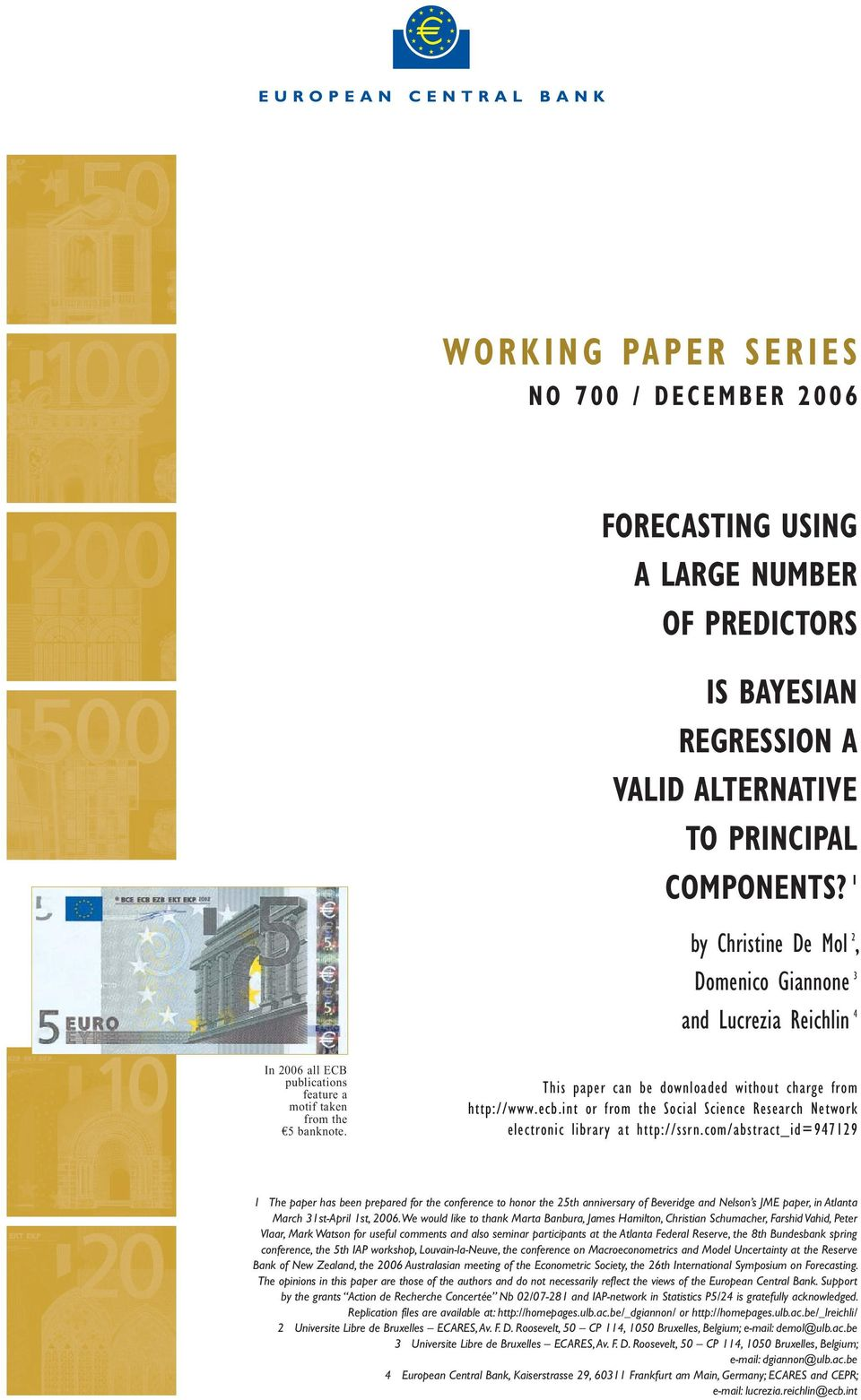 ecb.int or from the Social Science Research Network electronic library at http://ssrn.