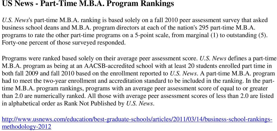 Programs were ranked based solely on their average peer assessment score. U.S. News defines a part-time M.B.A.