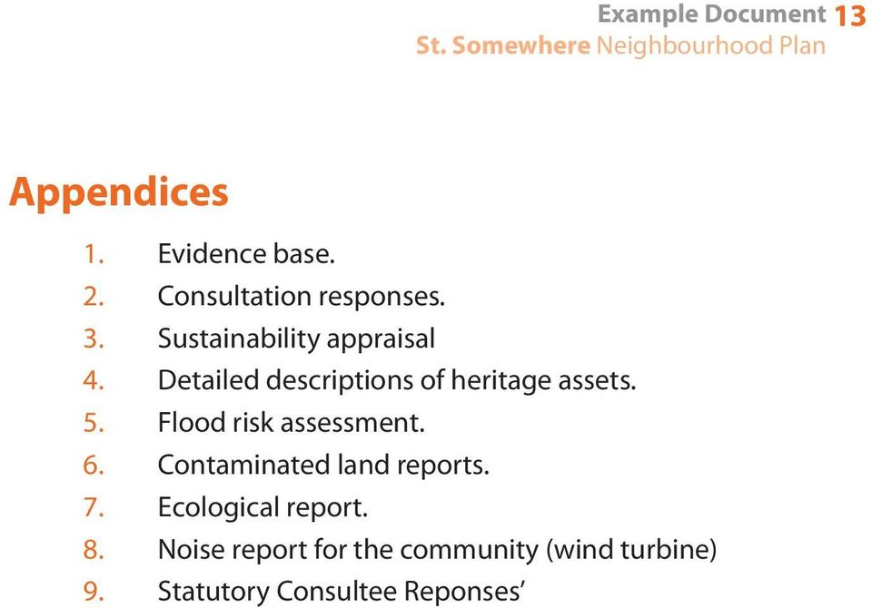 Sustainability appraisal Detailed descriptions of heritage assets.