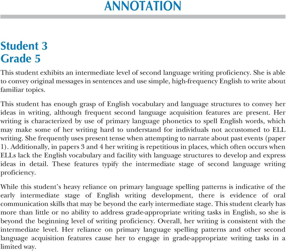 This student has enough grasp of English vocabulary and language structures to convey her ideas in writing, although frequent second language acquisition features are present.