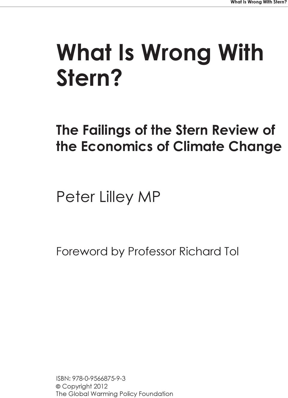 Change Peter Lilley MP Foreword by Professor Richard Tol