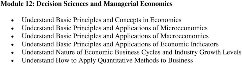 of Macroeconomics Understand Basic Principles and Applications of Economic Indicators Understand Nature of