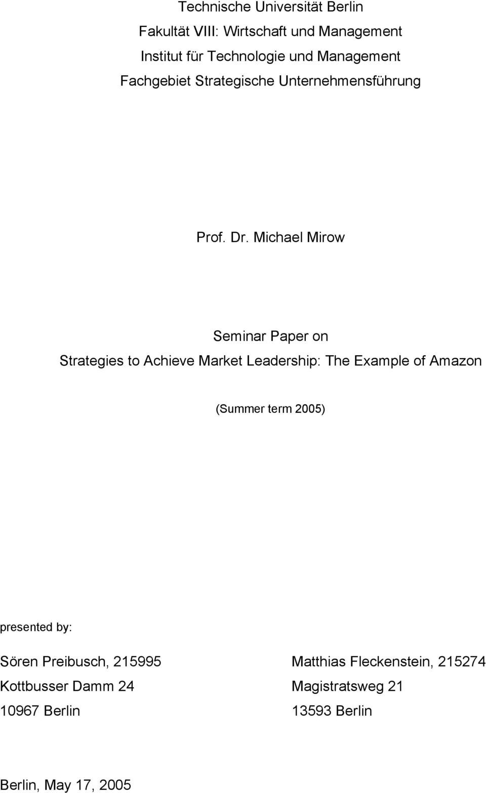 Michael Mirow Seminar Paper on Strategies to Achieve Market Leadership: The Example of Amazon (Summer term
