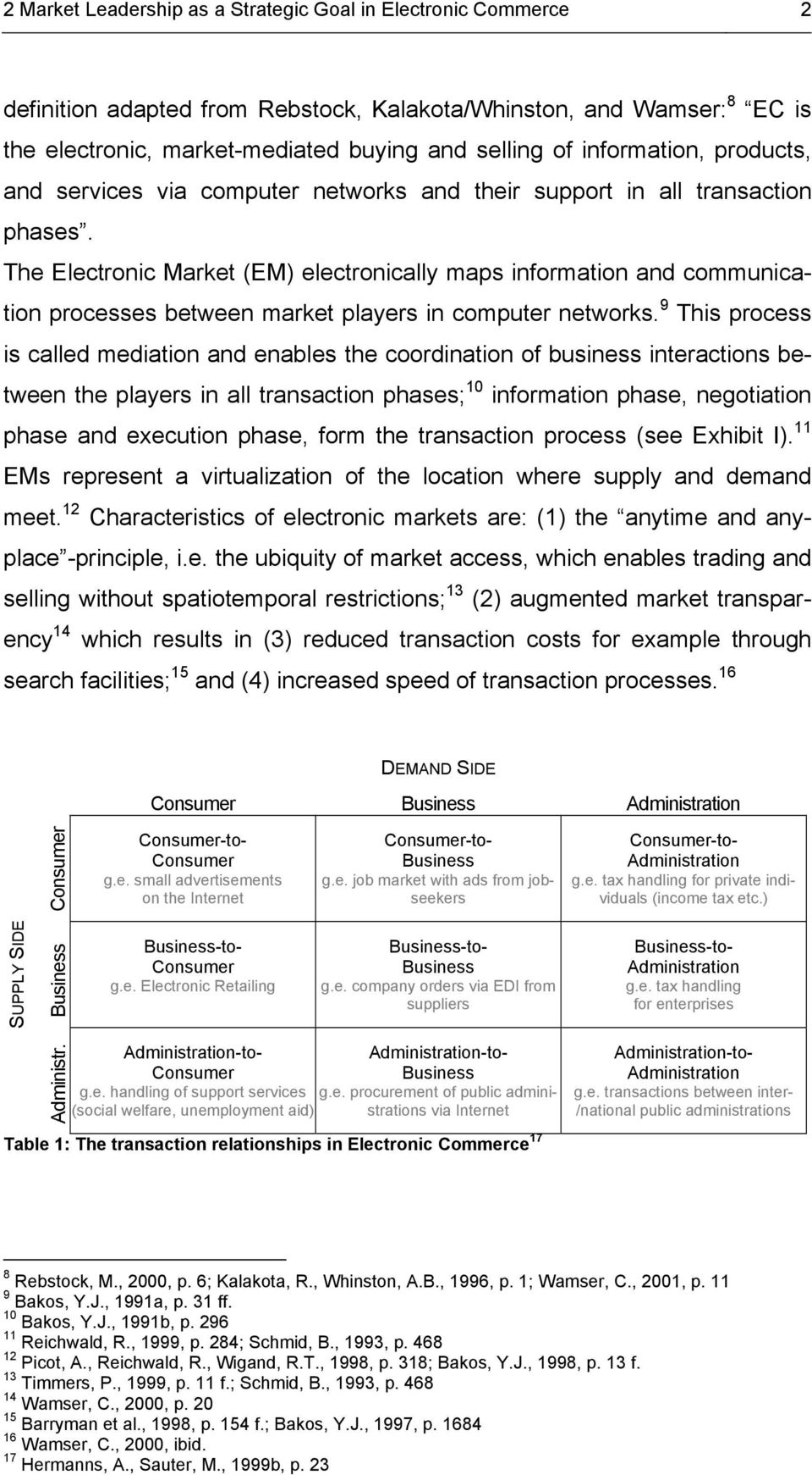 The Electronic Market (EM) electronically maps information and communication processes between market players in computer networks.