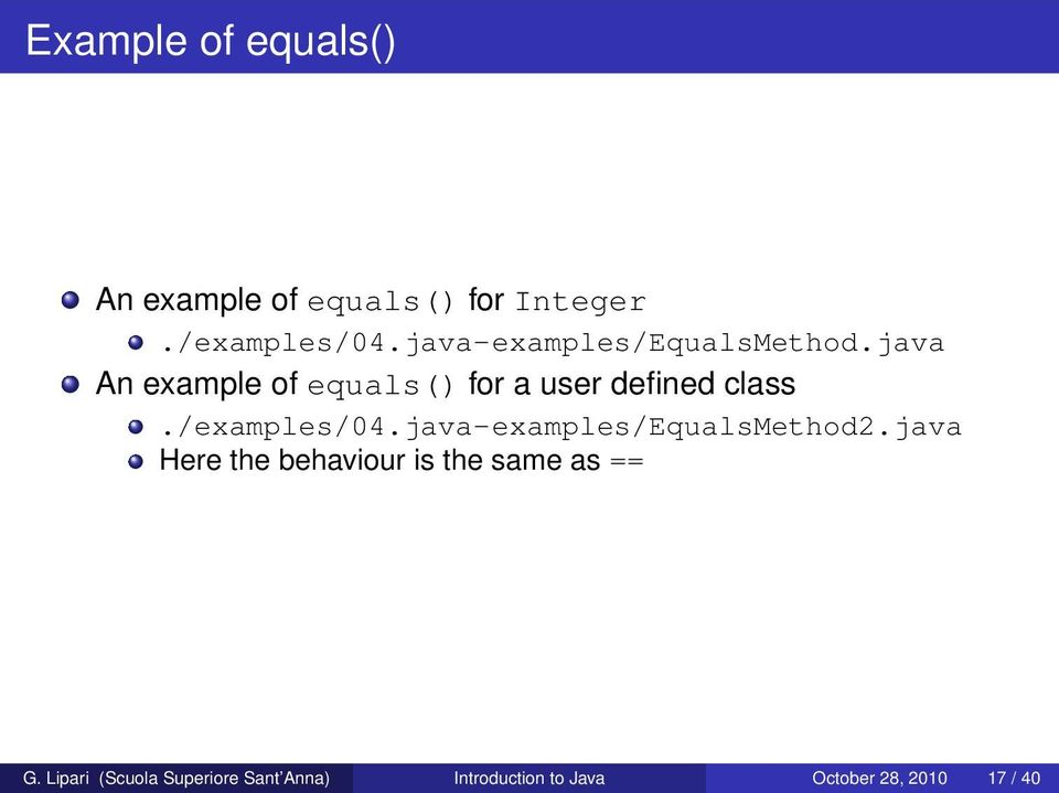 java An example of equals() for a user defined class./examples/04.