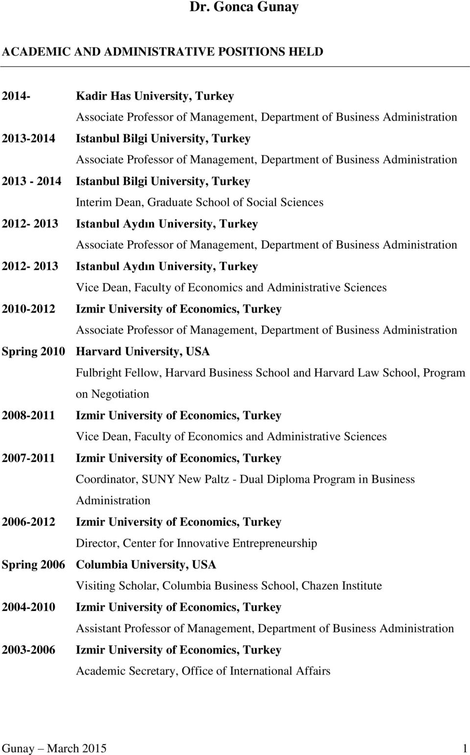 Istanbul Aydın University, Turkey Associate Professor of Management, Department of Business Administration 2012-2013 Istanbul Aydın University, Turkey Vice Dean, Faculty of Economics and