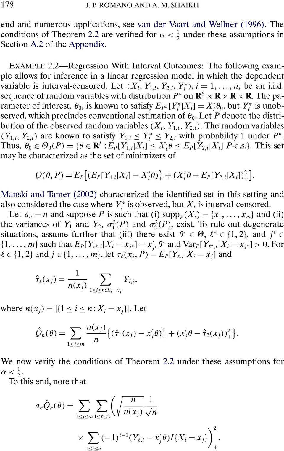 Let (X i Y 1 i Y 2 i Y i ) i = 1 n, be an i.i.d. sequence of random variables with distribution P on R k R R R.