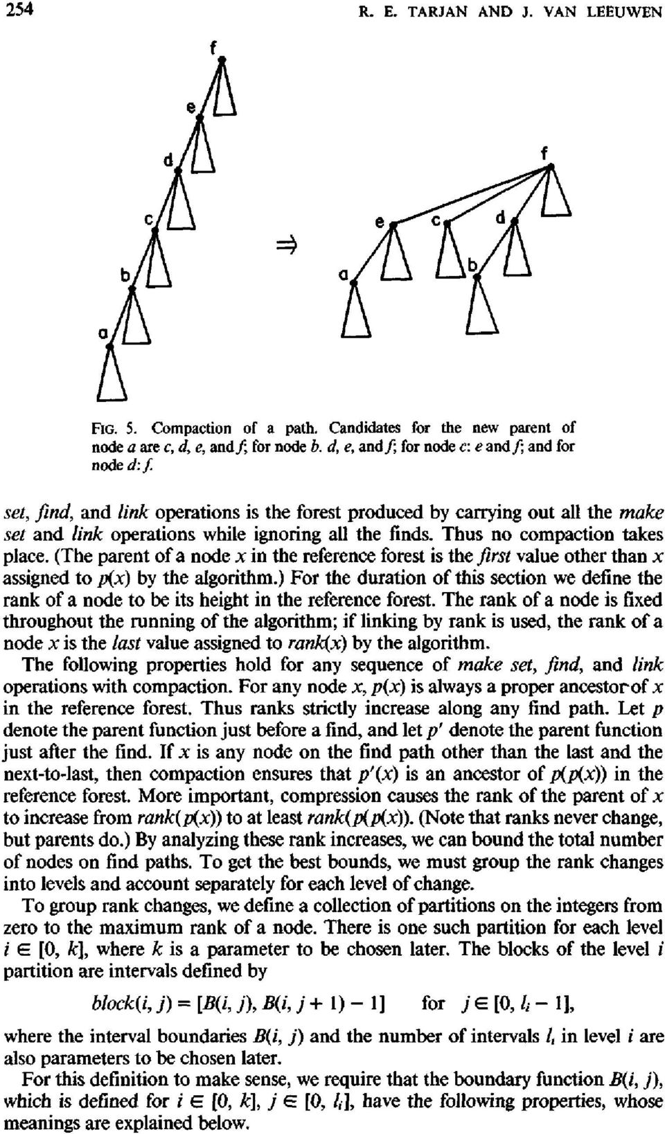 (The parent of a node x in the reference forest is the first value other than x assigned to p(x) by the algorithm.