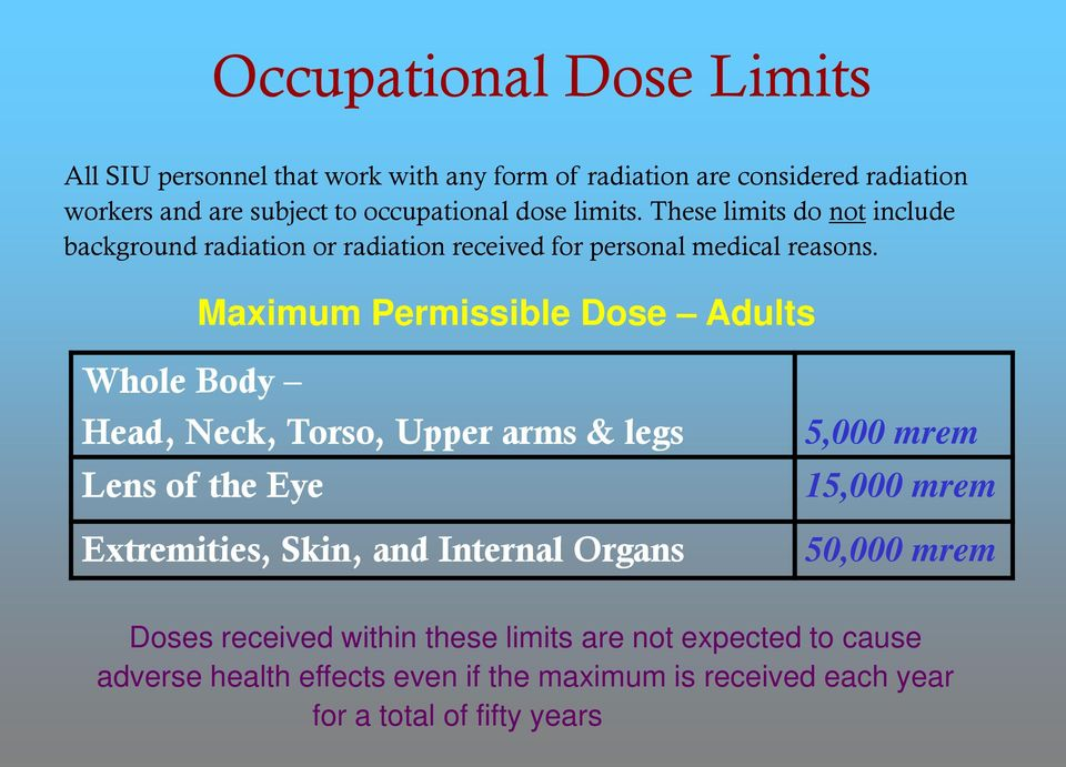 Maximum Permissible Dose Adults Whole Body Head, Neck, Torso, Upper arms & legs Lens of the Eye Extremities, Skin, and Internal Organs 5,000 mrem