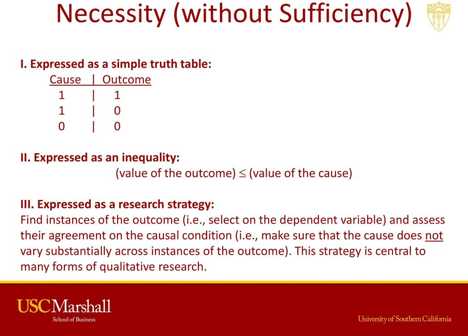 Expressed as a research strategy: Find instances of the outcome (i.e., select on the dependent variable) and assess their agreement on the causal condition (i.