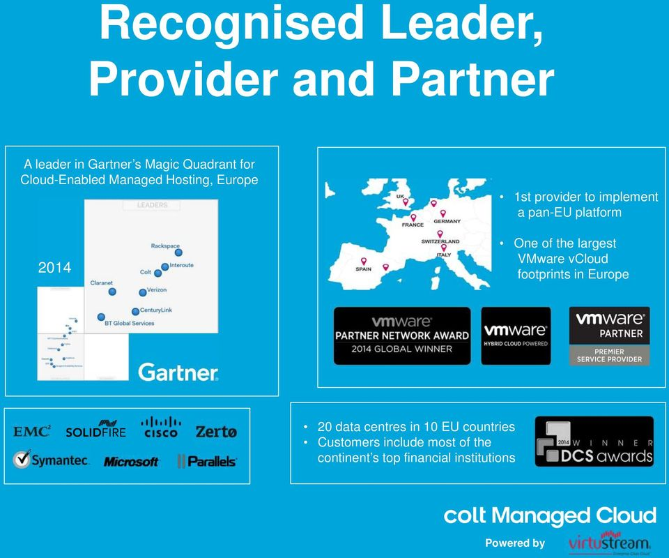 platform One of the largest VMware vcloud footprints in Europe 20 data centres in