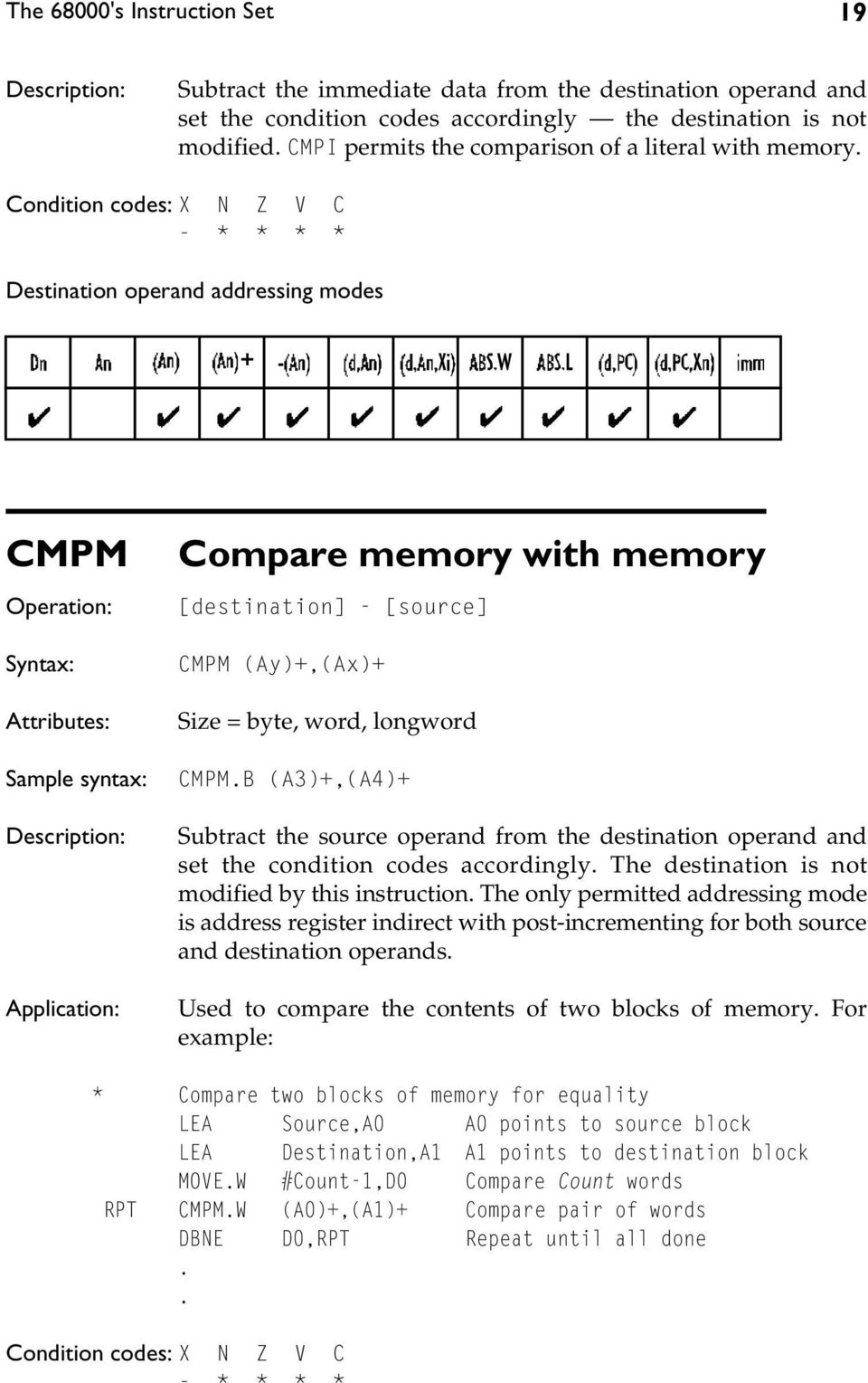 - * * * * Destination operand addressing modes CMPM Sample syntax: Compare memory with memory [destination] - [source] CMPM (Ay)+,(Ax)+ Size = byte, word, longword CMPM.