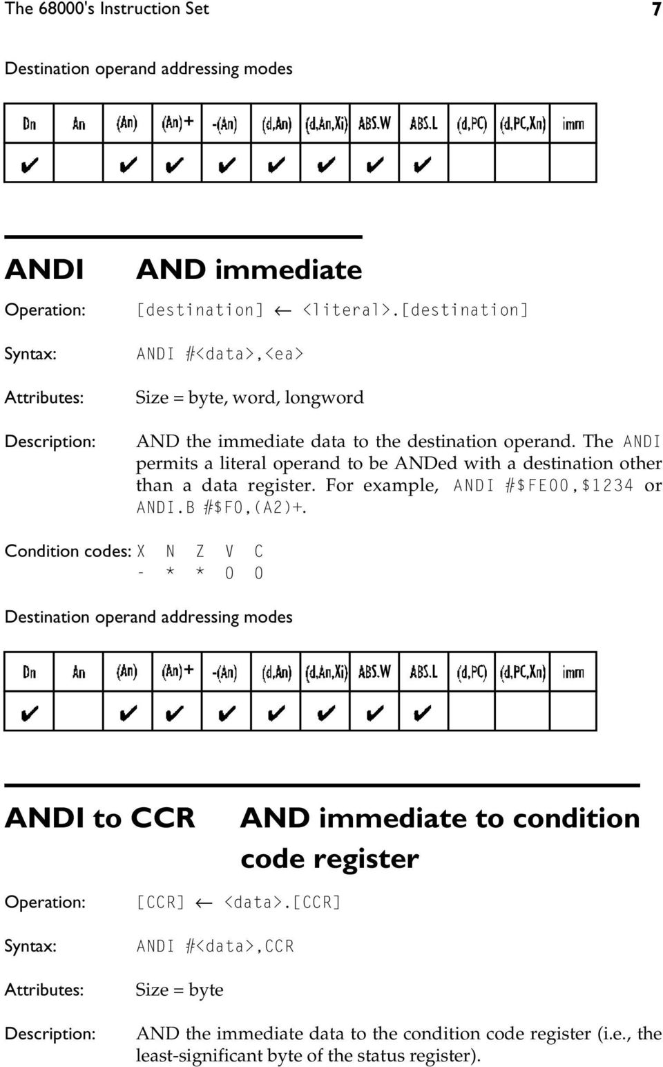The ANDI permits a literal operand to be ANDed with a destination other than a data register. For example, ANDI #$FE00,$1234 or ANDI.B #$F0,(A2)+.