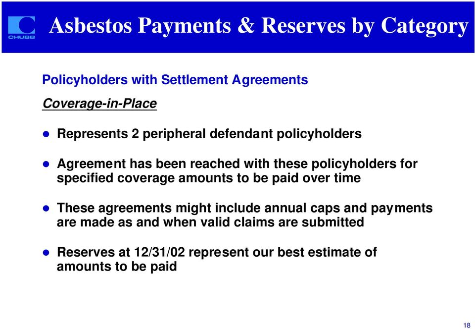 Agreement has been reached with these policyholders for specified coverage amounts to be paid over time!
