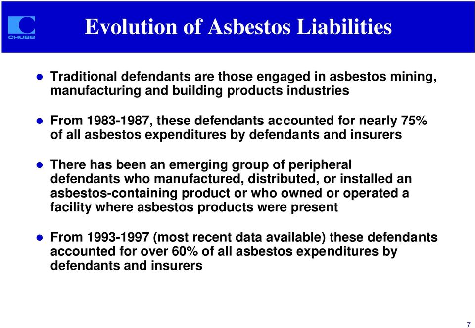 There has been an emerging group of peripheral defendants who manufactured, distributed, or installed an asbestos-containing product or who owned or