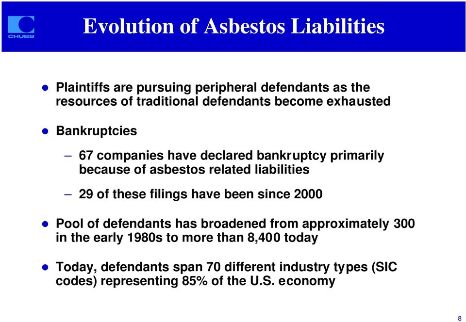 Bankruptcies 67 companies have declared bankruptcy primarily because of asbestos related liabilities 29 of these filings
