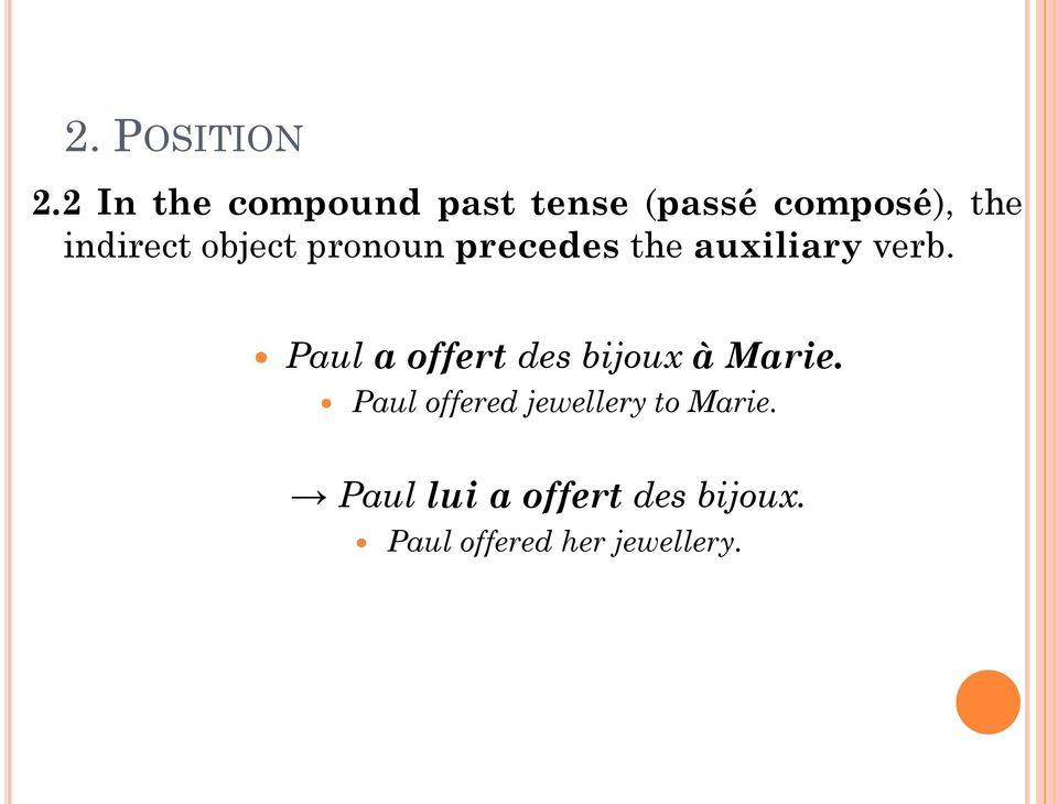 object pronoun precedes the auxiliary verb.