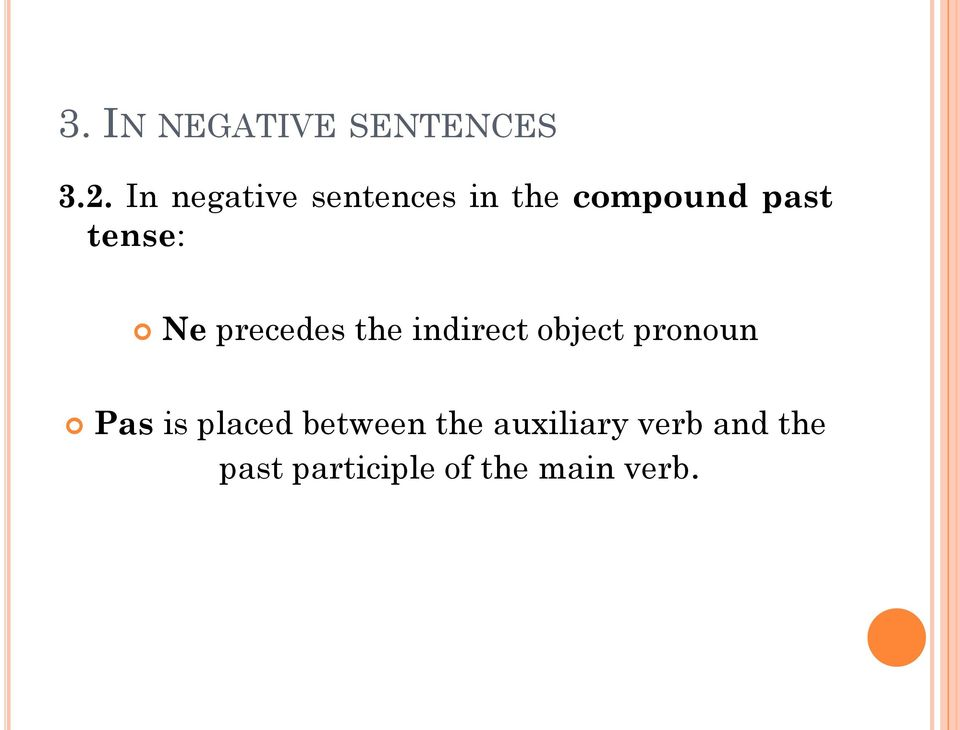 Ne precedes the indirect object pronoun Pas is