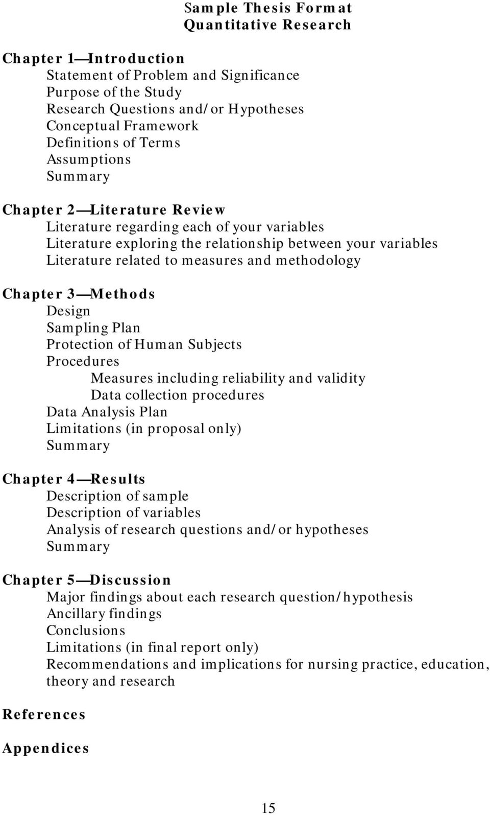 methodology Chapter 3 Methods Design Sampling Plan Protection of Human Subjects Procedures Measures including reliability and validity Data collection procedures Data Analysis Plan Limitations (in