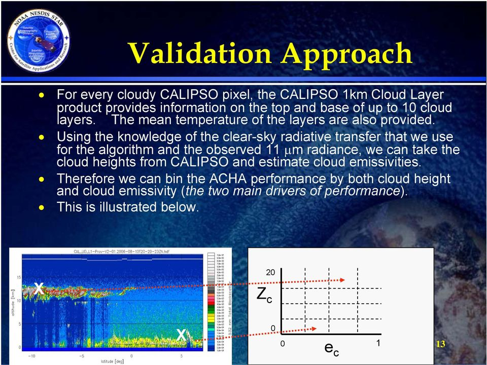 Using the knowledge of the clear-sky radiative transfer that we use for the algorithm and the observed 11 μm radiance, we can take the cloud