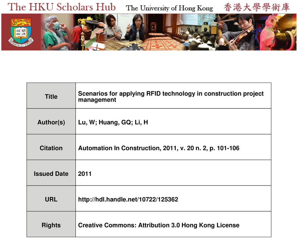 Citation Automation In Construction, 2011, v. 20 n. 2, p ...