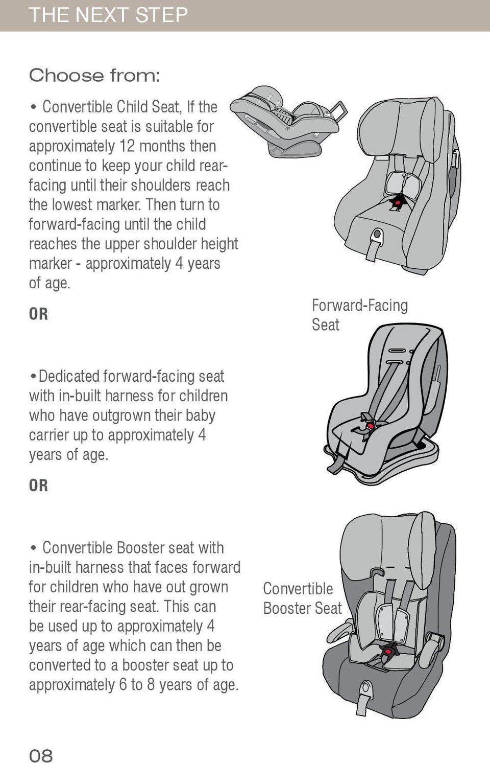 OR Forward-Facing Seat Dedicated forward-facing seat with in-built harness for children who have outgrown their baby carrier up to approximately 4 years of age.