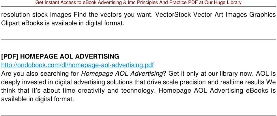 com/dl/homepage-aol-advertising.pdf Are you also searching for Homepage AOL Advertising? Get it only at our library now.