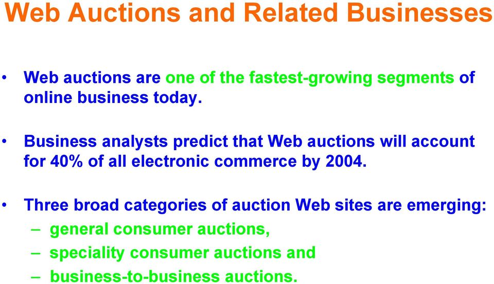 Business analysts predict that Web auctions will account for 40% of all electronic