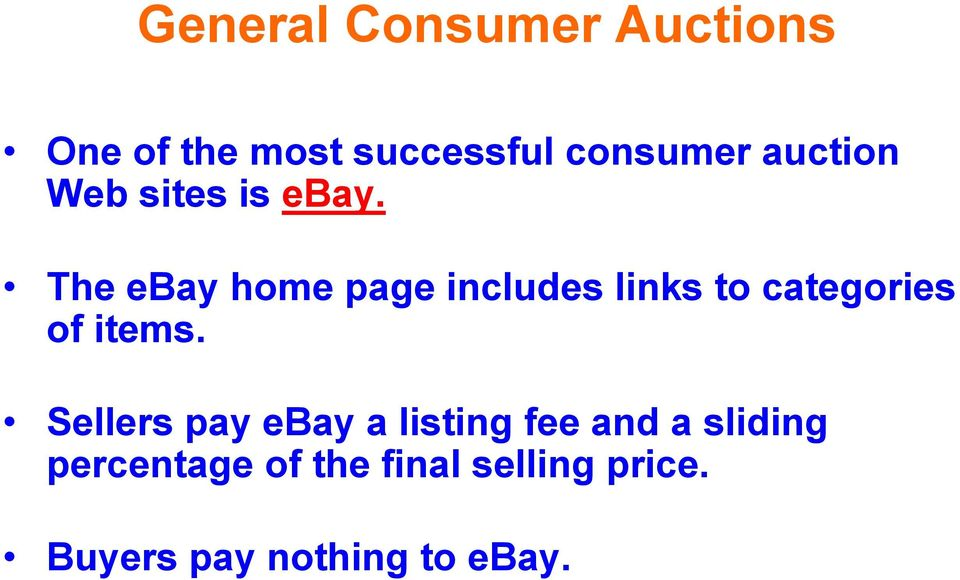 The ebay home page includes links to categories of items.