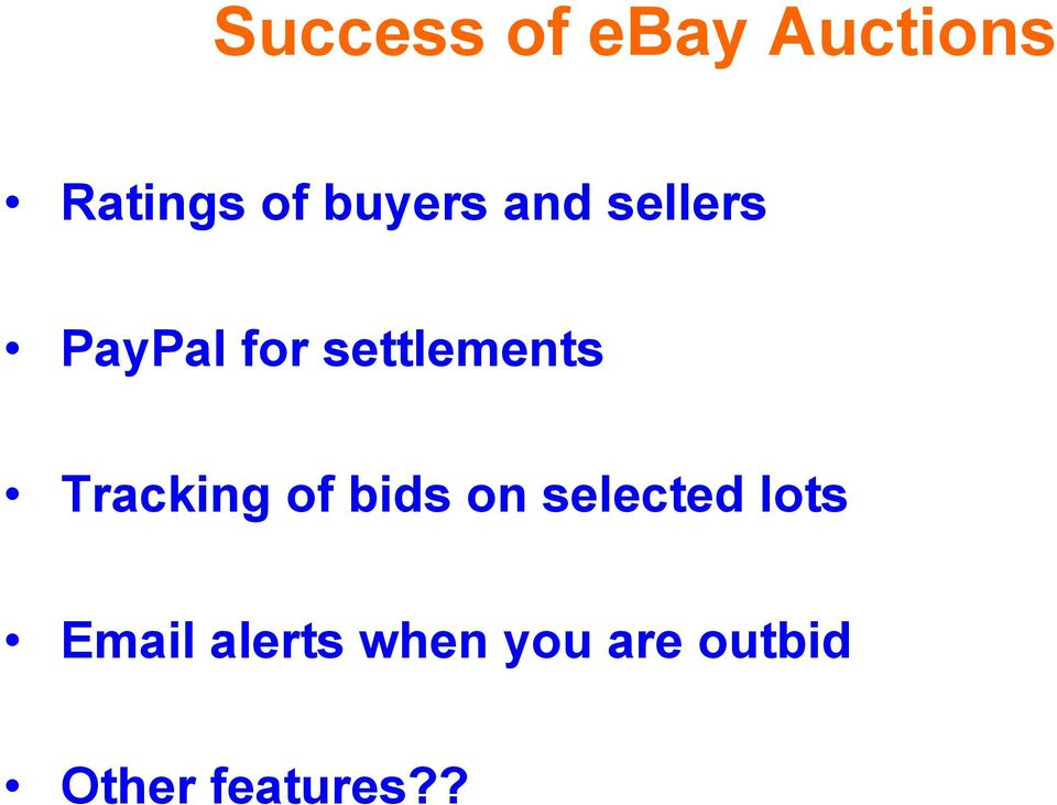 settlements Tracking of bids on selected