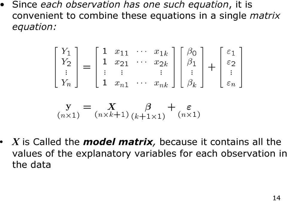 equation: X is Called the model matrix, because it contains