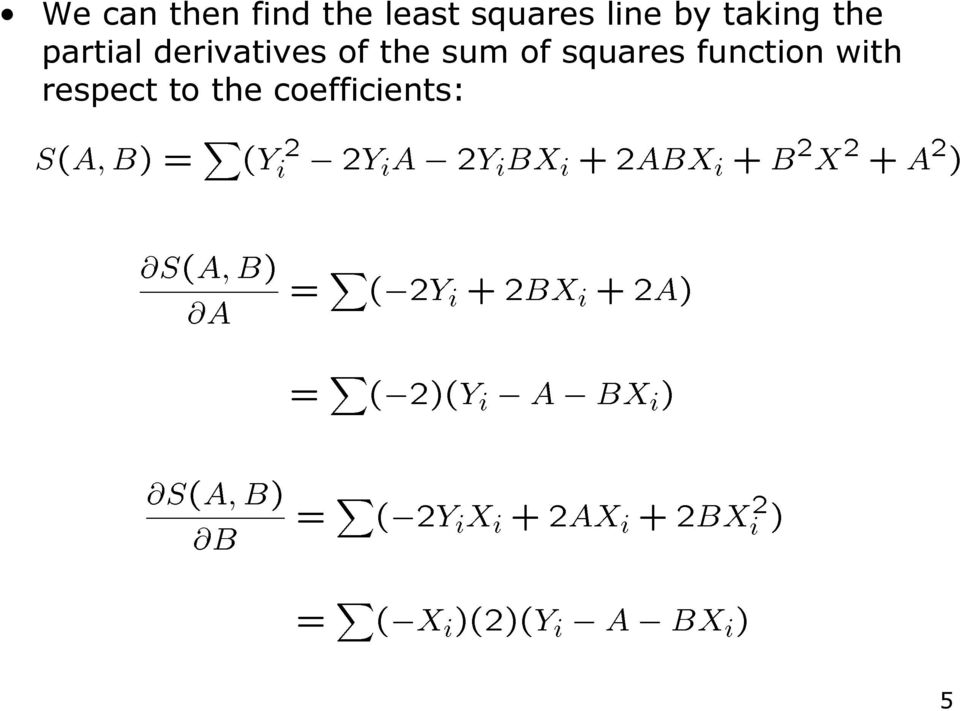 derivatives of the sum of squares