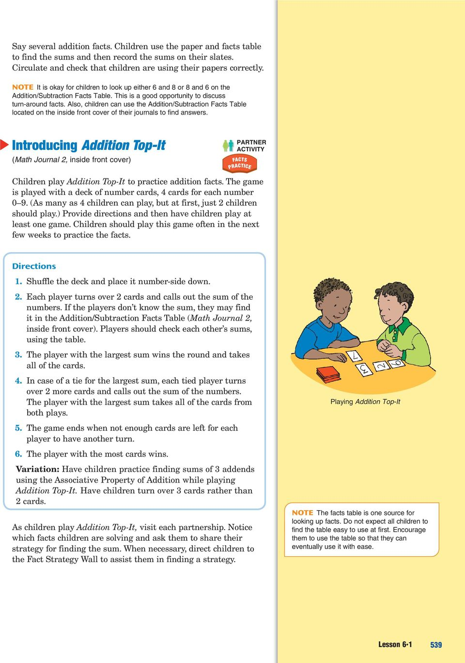 Also, children can use the Addition/Subtraction Facts Table located on the inside front cover of their journals to find answers.