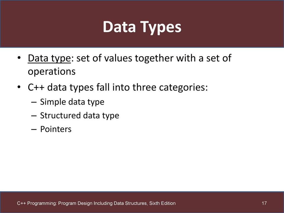data types fall into three categories: